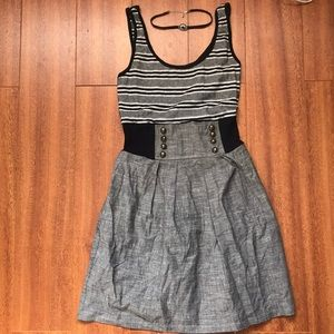 Black and Grey Mid Legnth Dress